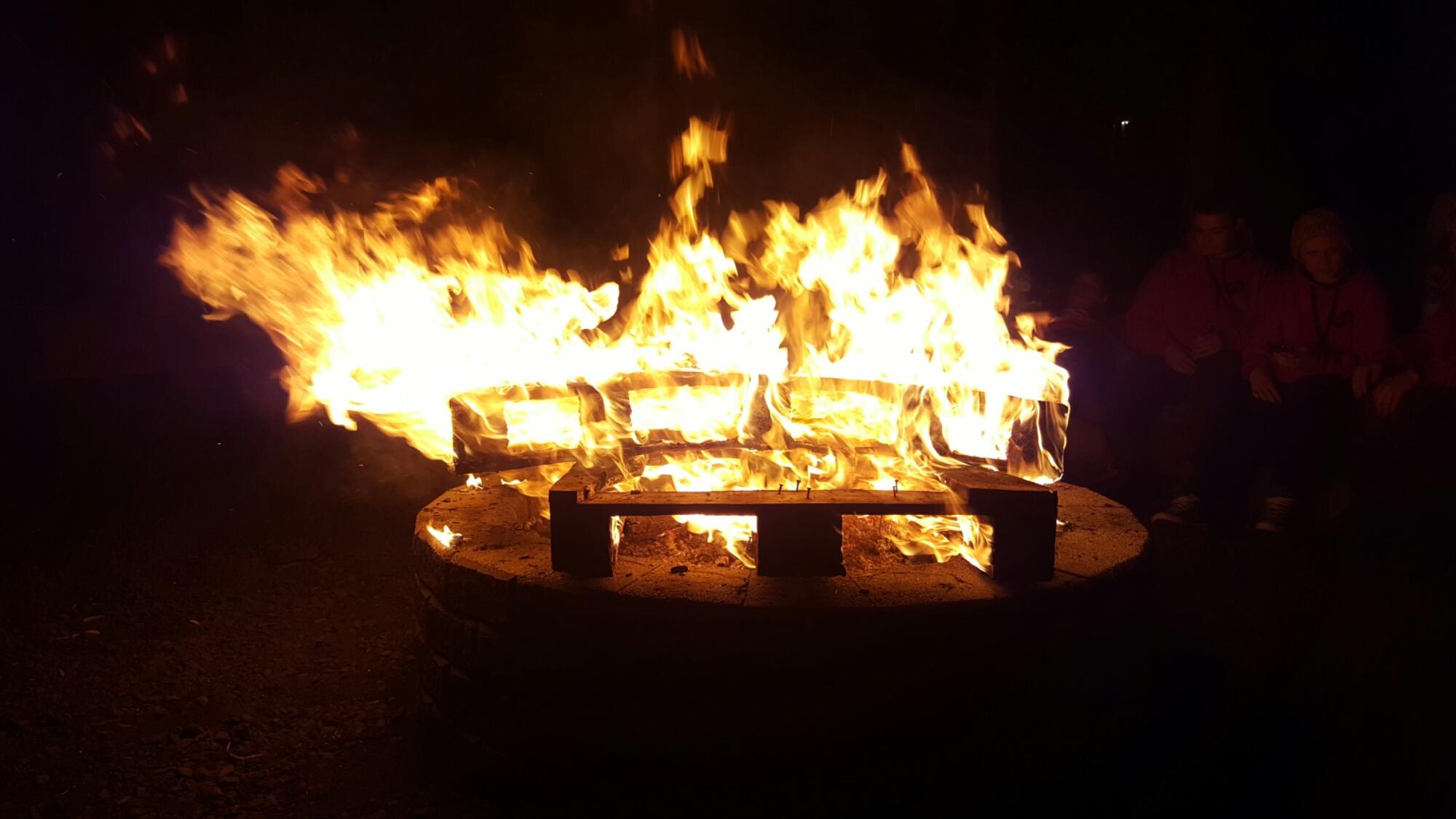 Last night's camp fire